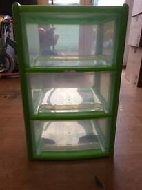 3 drawer green storage unit