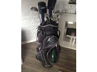 Full set of golf clubs right handed with Hill Billy trolley bag