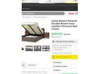Julian Bowen brown leather storage bed
