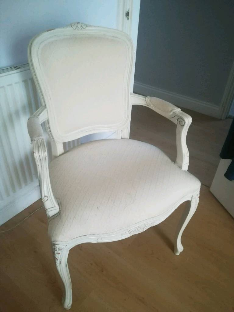 French Desk Living Bedroom Chair Ivory White