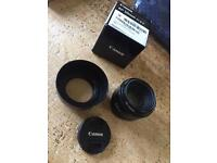 Canon 50mm f/1.8 II - with lens hood and UV filter