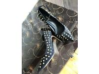 Gorgeous black stiletto heels with gold studs from Next size 6.5