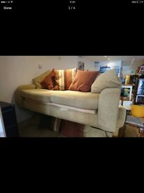 Beautiful cream/beige large sofas with footstool
