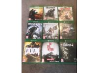 9 Xbox one games as photograph