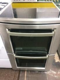 Silver AEG 60cm ceramic hub electric cooker grill & double fan ovens good condition with guara