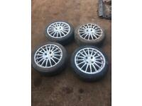 "Set of 4 16"" OZ Racing Alloy wheels with tyres 195/45r16 4x108 Citroen Peugeot"
