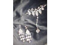Wedding set stud earrings ring bracelet set jewellery silver +FREE REUSABLE MASK