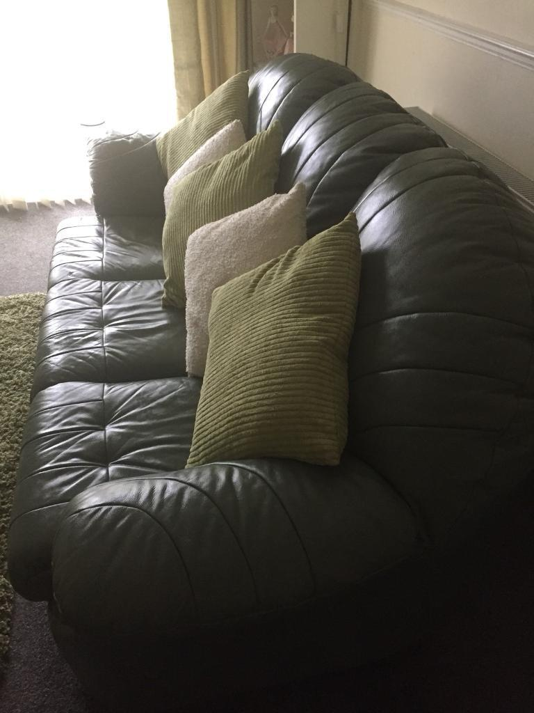 Leather Settee , chair and Pouffe