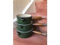 Excellent vintage Le Creuset 3 piece saucepan set in green