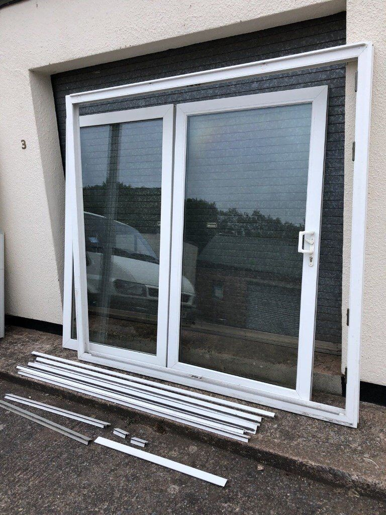 White Upvc Sliding Patio Glass Door Double Glazed Slide Open In