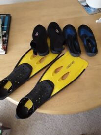 Flippers, Wet Suit Boots and Aqua Shoes