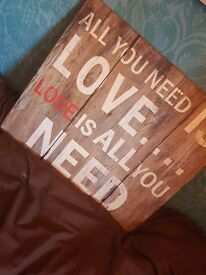 Large square wooden plaque - All you need is love