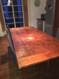 Solid wood dining table seats up to 10