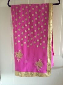 Pink saree with Matt gold sequin border