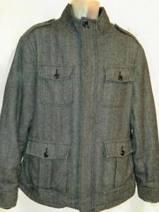 NEW Trendy Mens L 44 Merona Wool Blend Jacket Warm Lining Tweed Deadstock Large Gray Fall Winter Coat Excellent Modern