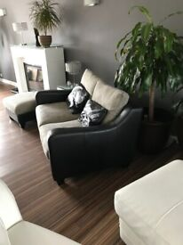 DFS SOFA LEATHER AND FABRIC TWO SEATER BLACK & GREY COST £950, collection by 24/10/21 only