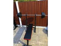 Bench with Barbell & Weights. •Can Deliver•
