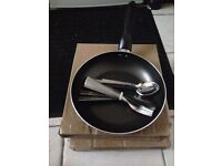 Brand New Table Cutlery Set Fork Spoon Teaspoon, Fry pan and 8 plats