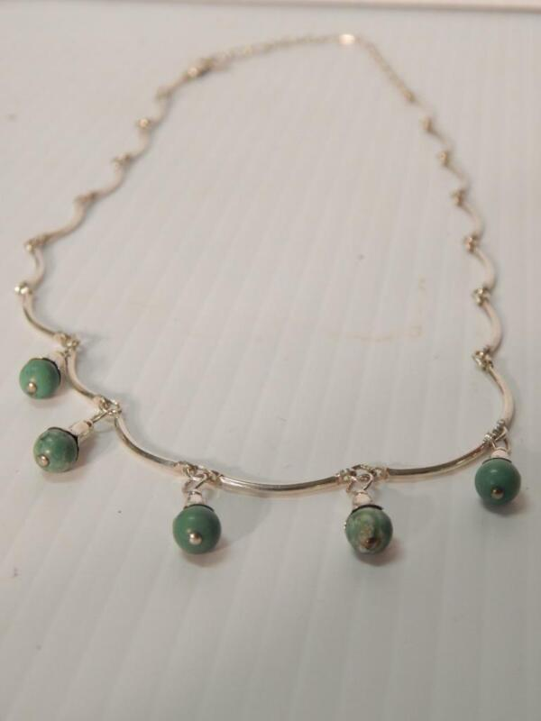VINTAGE CAROLYN POLLACK STERLING SILVER TURQUOISE SQUASH / NATIVE DSGN NECKLACE