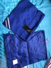New blue book bag and pe drawstring bag school
