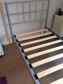 Single bed frame metallic in silver in good condition