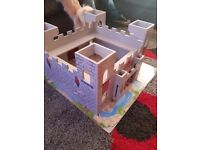 Wooden train table and castle