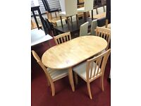 Extendable Table and 4 Chairs fabric seat