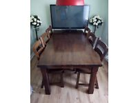 Solid irish oak table and six chairs