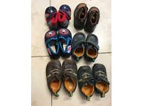 Baby boys shoes 8 pairs hush puppies, clarks, Adams and activate new.