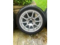 Alloys with good tyres of Honda CRX /Civic 1990