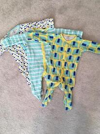 3 x next 0-3 sleepsuits