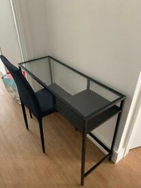 Black glass table and black chair - must go today or tomorrow