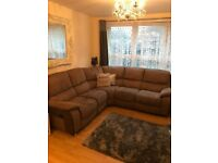 tan/ light brown 5 seater suede sofa with 2 recliners either side