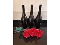 3 x black glass vase wirh flowers
