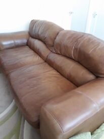 2 seater & 3 seater brown leather sofas used