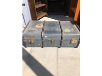 Vintage travel case size W 36 in D 21 in H 13 in