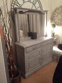 Beautiful hand painted grey dresser with beveled mirror