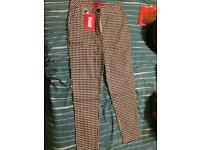 Black and white gingham 3/4 length high waisted trousers, size 12