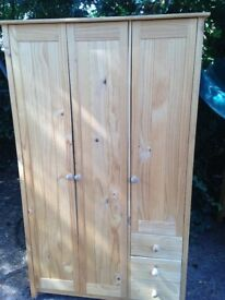 LARGE PINE WARDROBE WITH DRAWS IN GOOD CONDITION VERY GOOD STORAGE SPACE FREE LOCAL DELIVERY
