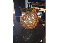 A hand blown glass owl