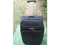 Medium Antler Expandable Black Fabric Suitcase with Telescopic Handle and Wheels for £12.00
