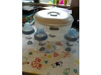 Tommee tippee microwave/cold water steriliser and bottles