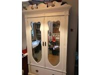 Double wardrobe antique painted cream