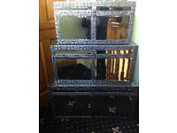 Set of 3 mirrored boxes