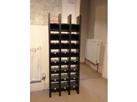 Immaculate wooden 21 box shelving unit in black with metal sliders.