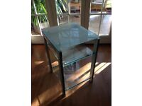 Glass and Chrome stereo/TV/DVD table with two shelves