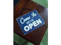 Open/Closed metal shop sign