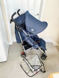 Maclaren Quest stroller umbrella fold with genuine raincover, cup holder, strap pads & bag hook