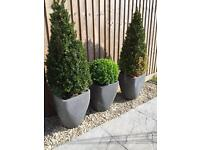 3 x grey planters 40cm high