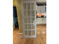6 x Used Internal Pine Doors With Clear Glass Panels